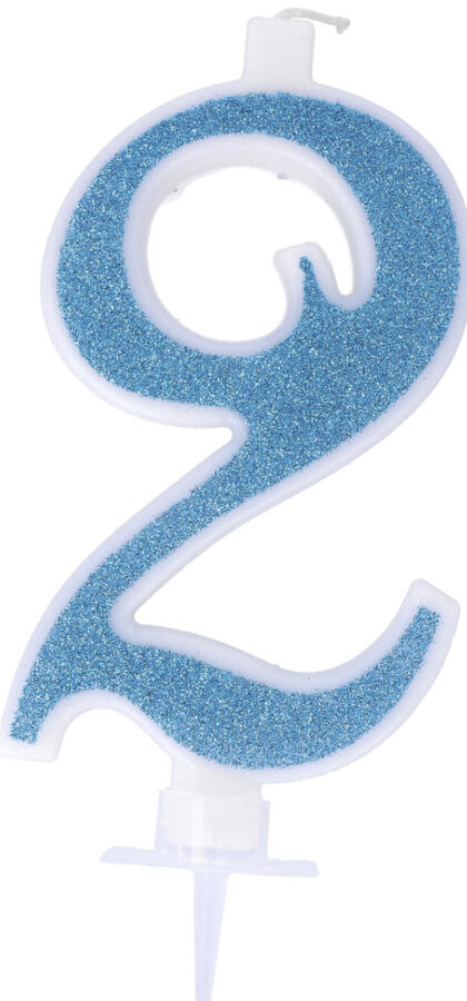 Candeline glitterate azzurre cm 11