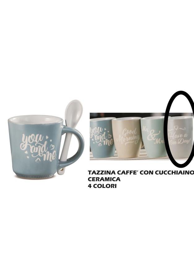 TAZZINA CAFFE'+ CUCCHIAINO CERAMICA CON SCRITTE
