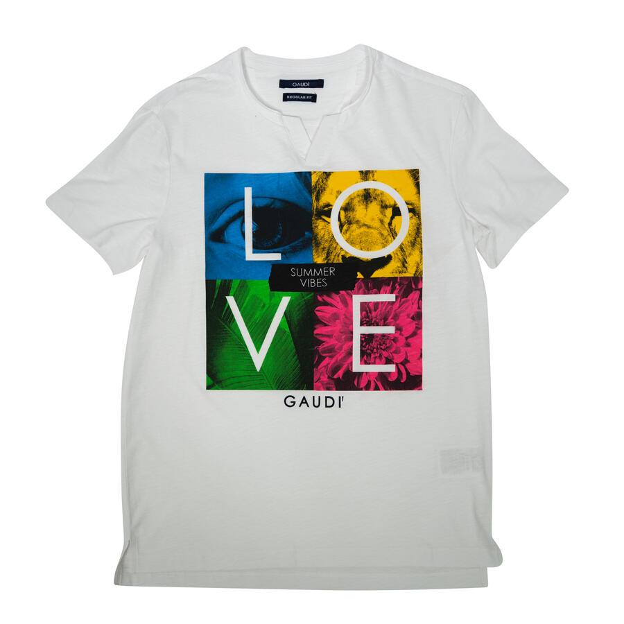 T-SHIRT GAUDÌ CON STAMPA MUTICOLOR LOVE - Colori disponibili: 2