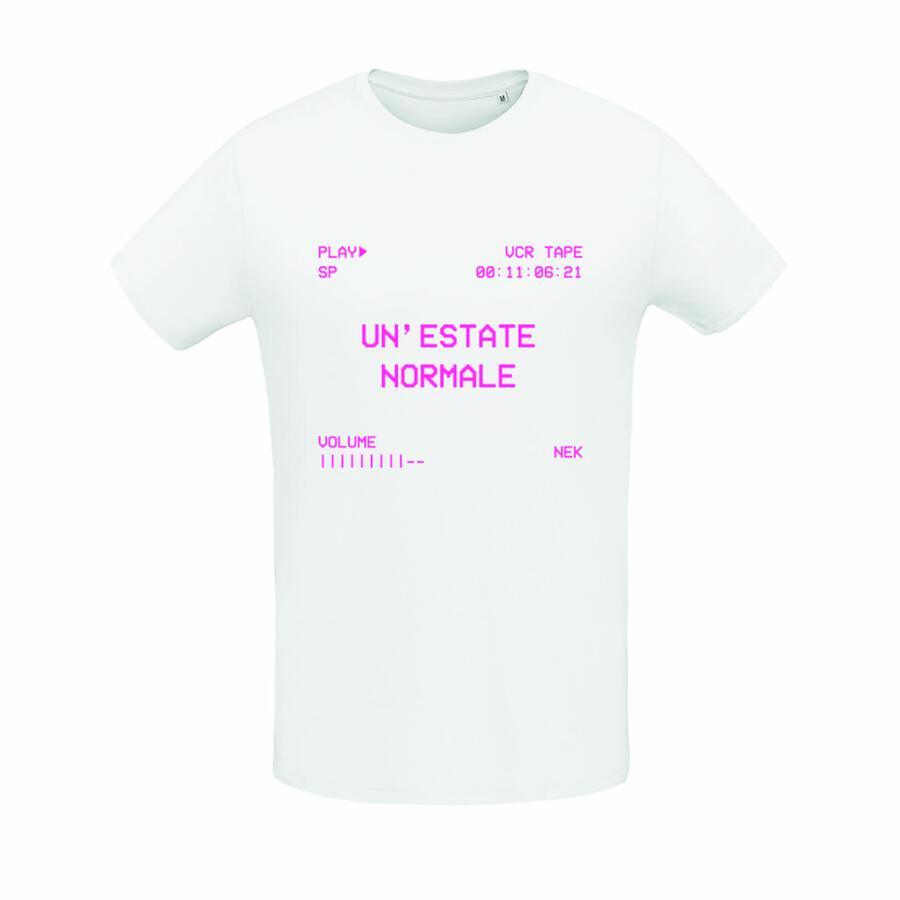 "T-shirt Bianca/White  ""UN'ESTATE NORMALE"" Stampa vintage fucsia"