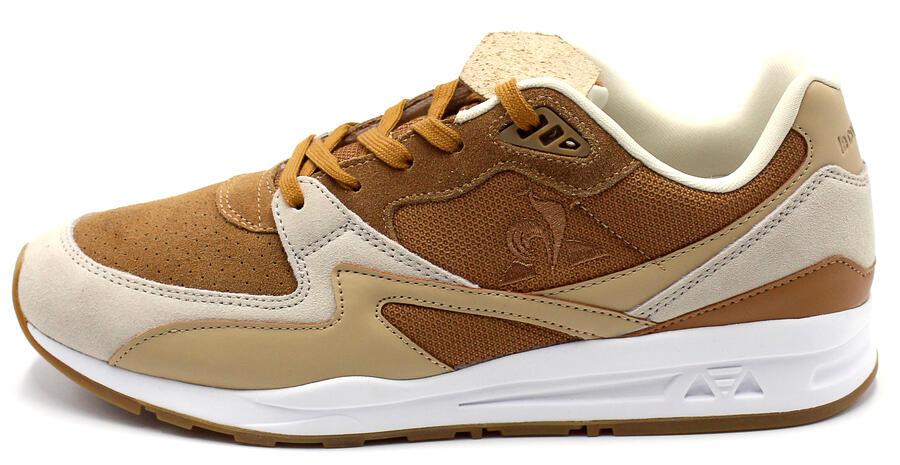 Sneakers  Le Coq Sportif scarpe da ginnastica da uomo beige cognac e bianco LCS R800