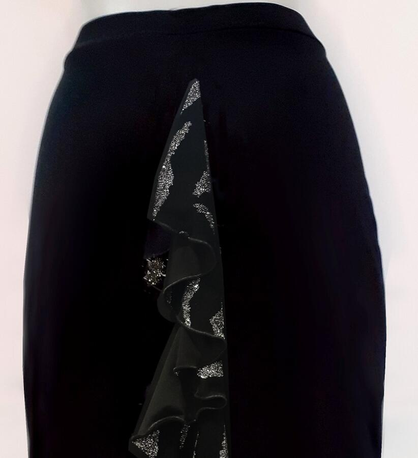 TANGO AND DANCE SKIRT WITH SLIT AND VORTICE RUCHES BEHIND 2-0046