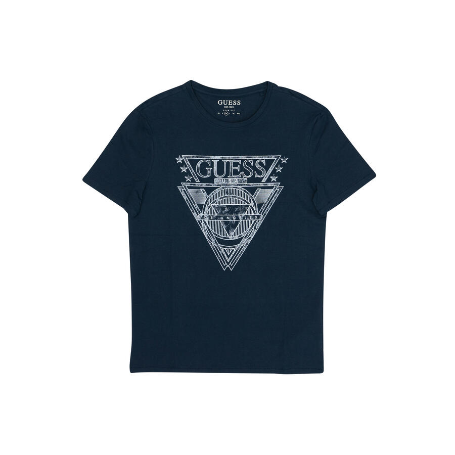 T-SHIRT GUESS SLIM FIT CON LOGO EFFETTO USED - COL. BLU