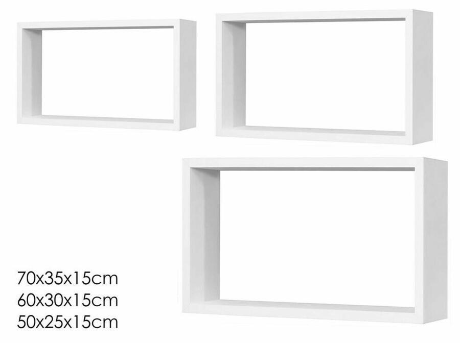Set 3 Mensole da Muro in Legno Mdf Cubo Cubi Rettangolari Scaffale Parete ideali per Cameretta Soggiorno Decorative
