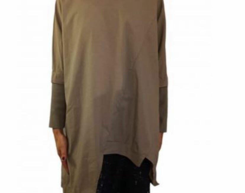 Maglia cotone over con maniche in maglia