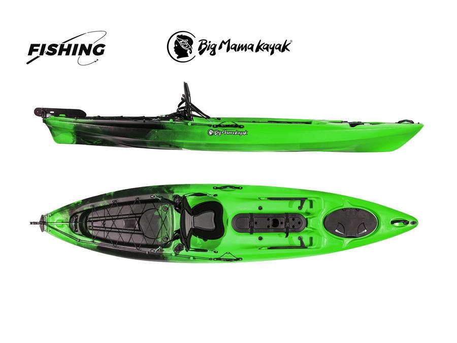 Prestige Fishing verde-nero Big Mama Kayak - Canoa 363 Cm Con Timone + 2 Gavoni + 2 Portacanne Interni+ Pagaia 220 Cm + Seggiolino Comfort (FULL PACK)