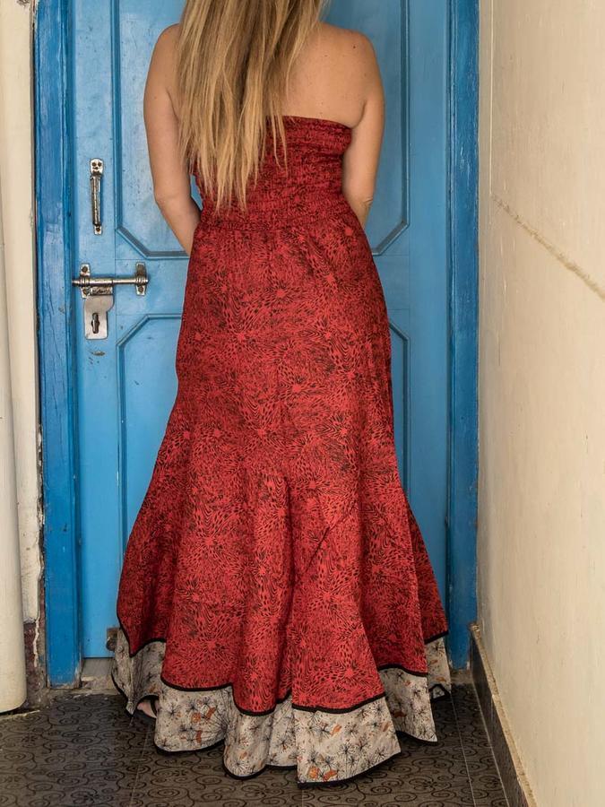 Women's dress Shanti - bicolor red / gray orange
