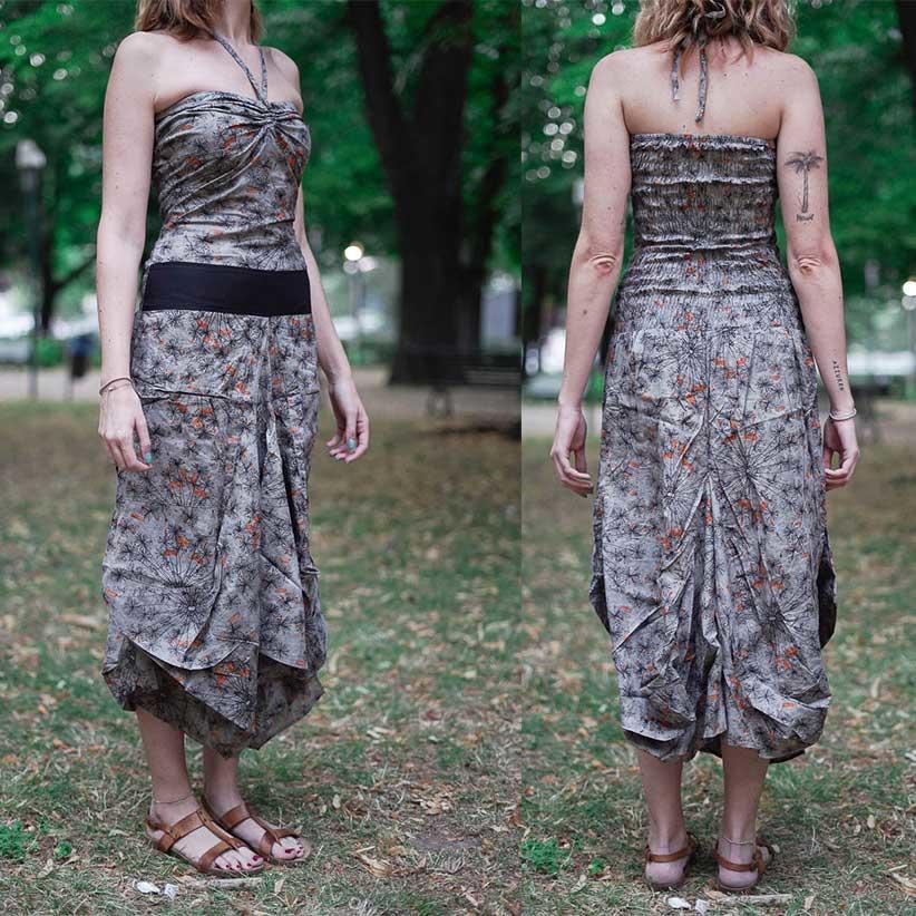 Long woman dress Yogita with bag skirt - gray orange