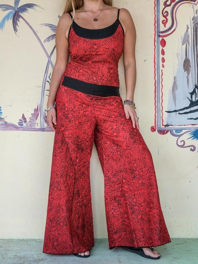 """Vestito Tuta Lungo """"Sapna"""" Pantaloni A Tubo Rosso"""