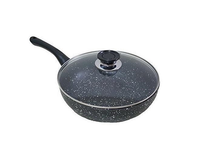 Padella wok rivestimento pietra lavica antiaderente antigraffio