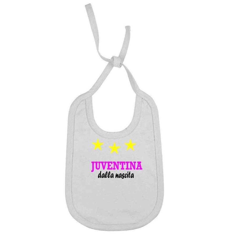 """Bavaglino Personalizzato """"Juventina dalla nascita"""" per piccole tifose della juventus juv-x3"""