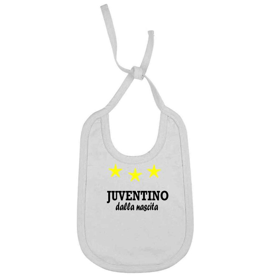 """Bavaglino Personalizzato """"Juventino dalla nascita"""" per piccoli tifosi della Juventus in 2 varianti colore juv-BIA02"""