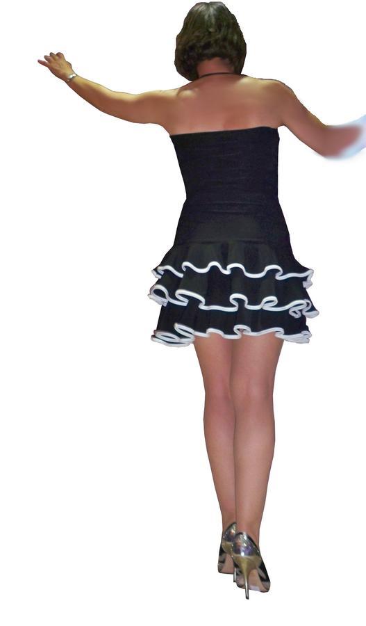 Latin dance dress with ruffles edged 4-0020