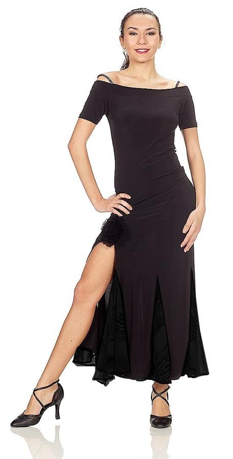 LONG DRESS WITH BLACK jersey SEGMENTS AND FINAL BLACK OR BLU TULLE AND SPLITTING 4-0064D