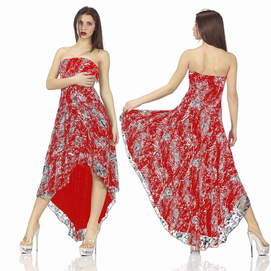 DANCE DRESS LINED IN LARGE RED LACE BEHIND BEHIND 4-0092