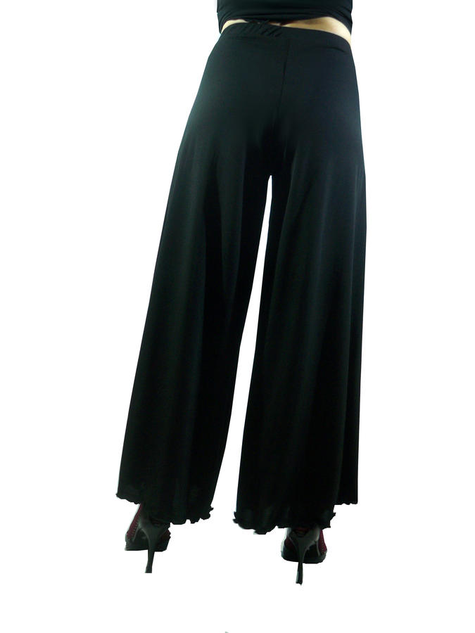 PANTS WOMAN IN WIDE FUND hem with side vents 1-0009