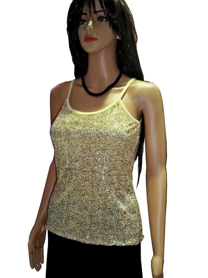 TANK WITH MICRO PAILLETTES COLORED LINED 3-0011