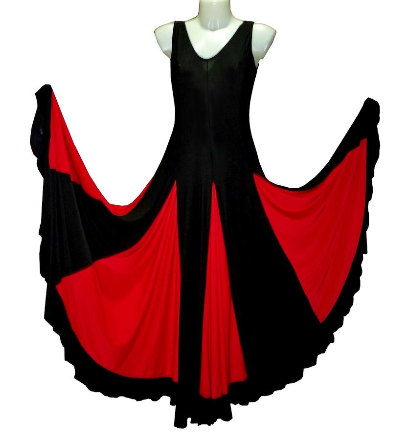 DRESS FOR DANCE LONG WHEEL WITH COLOURED INSERTS 4-0050