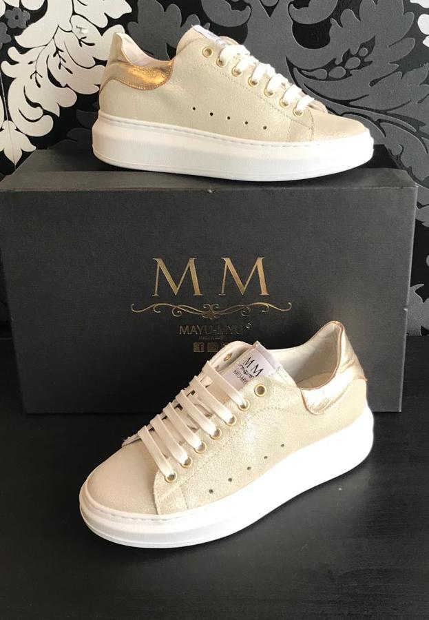 Sneakers donna Mayu Myu pellame beige glitterato riporto oro