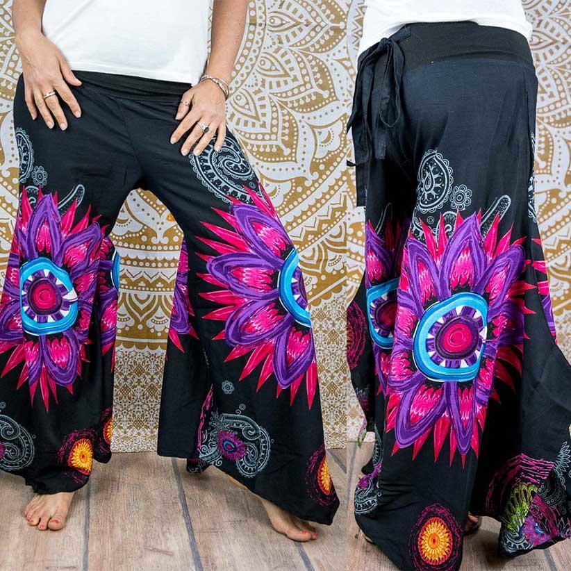 Pantalone donna Keertana zampa d'elefante - mandala fucsia