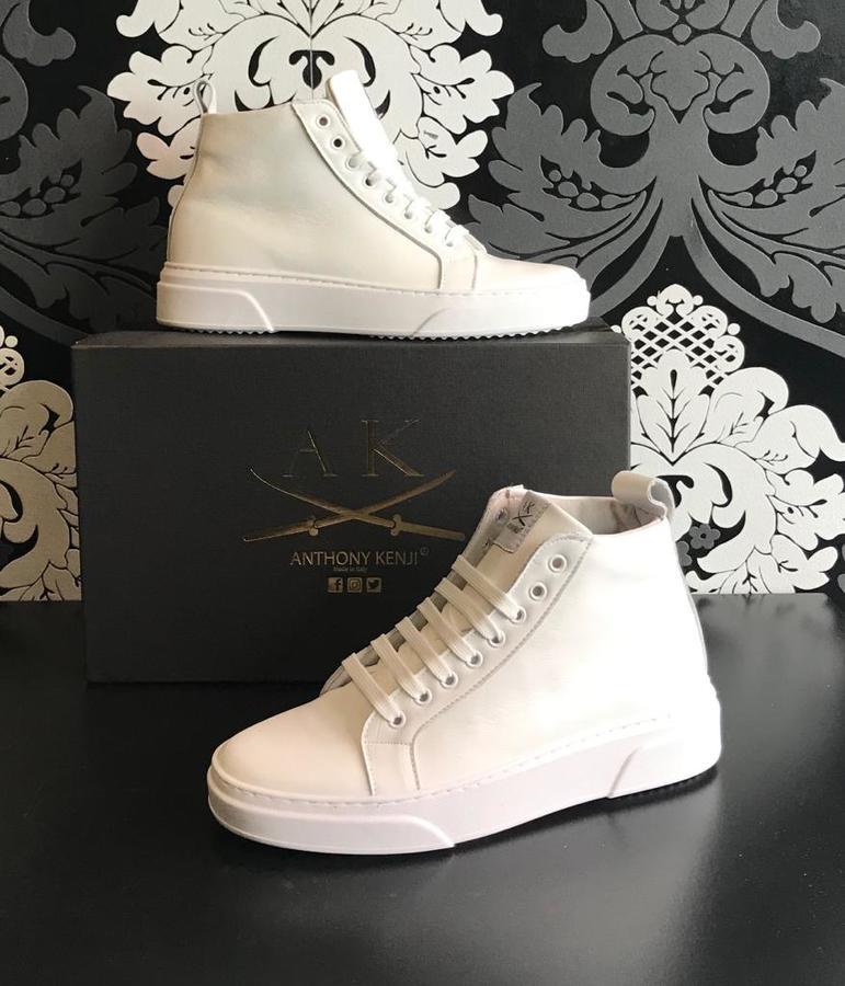Sneakers uomo Anthony Kenji mezzo stivaletto in pelle bianca gomma bianca