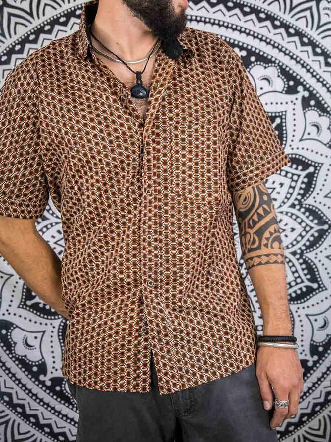 Camicia uomo Budhil manica corta -etnica marrone