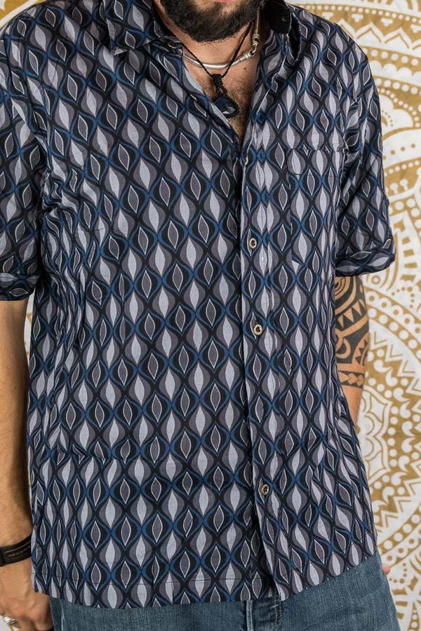 Camisa hombre Budhil manga corta - azul y gris