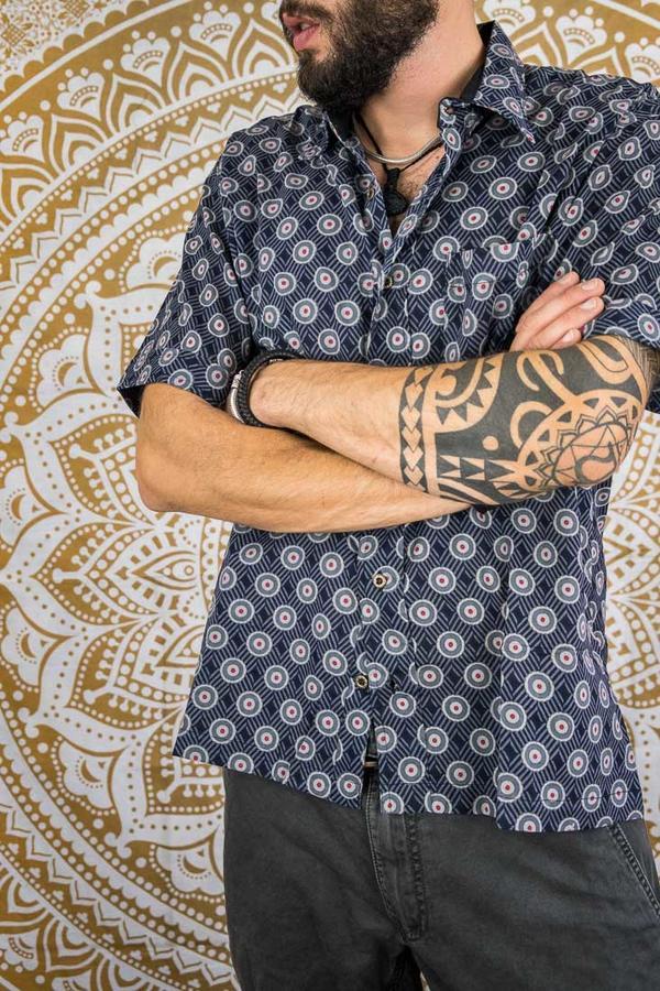 Camicia uomo Budhil manica corta - etnica blu pois rossi