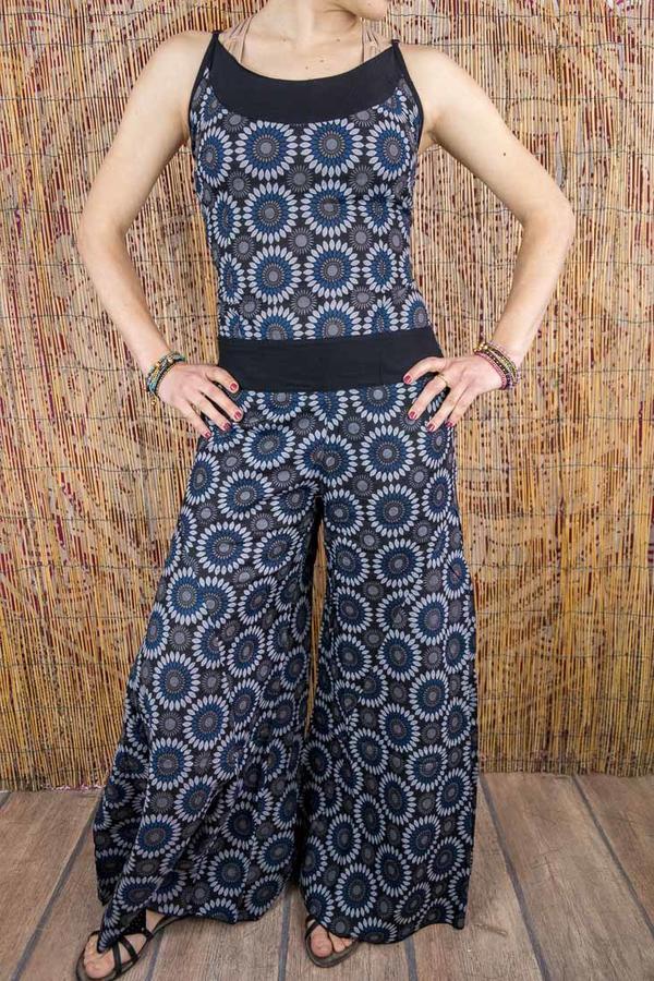Vestito tuta donna lungo Sapna pantalone a zampa - fiorato blu grigio