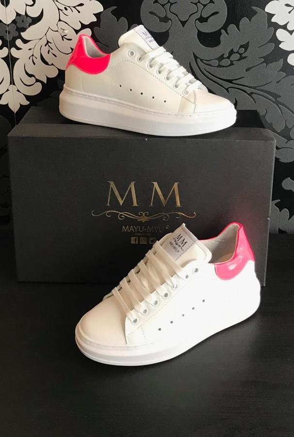 Sneakers donna Mayu Myu pelle bianca e riporto Fucsia