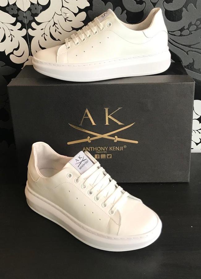 Sneakers uomo Anthony Kenji vitello bianco suola alta