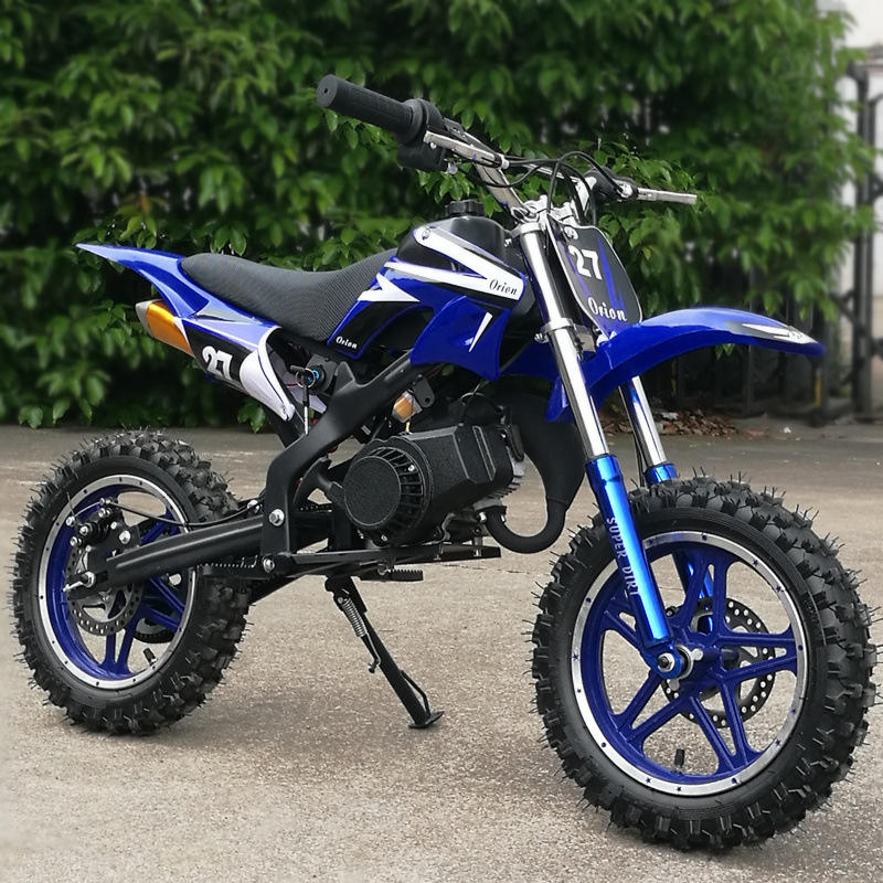 "Mini moto minimoto cross bambini a benzina 49cc ruote 10"" 2t. 45km/h blu o rosso"