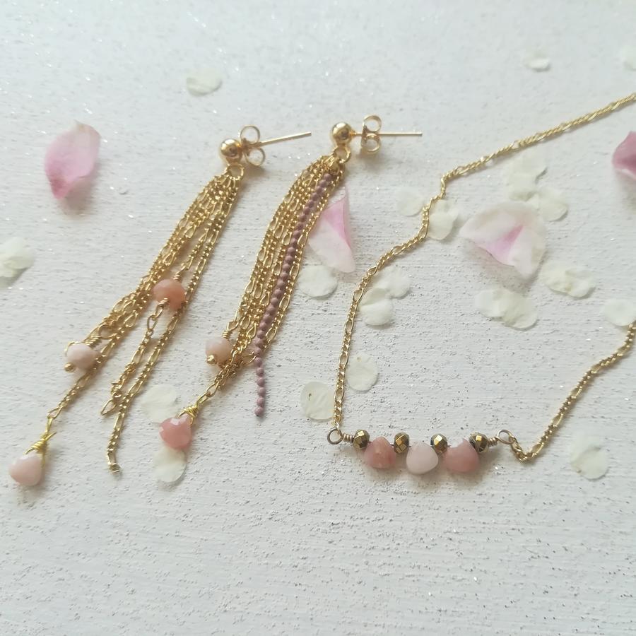Collana girocollo con mini gocce e ematite [+ colori ]