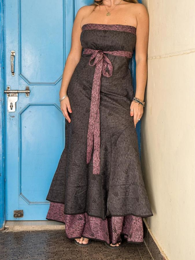 Women's dress Shanti - bicolor dark gray / purple
