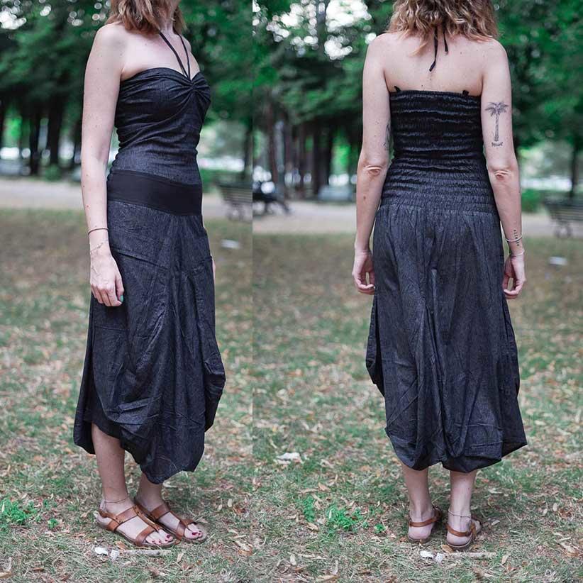 Vestito donna lungo Yogita con gonna a sacca - grigio scuro