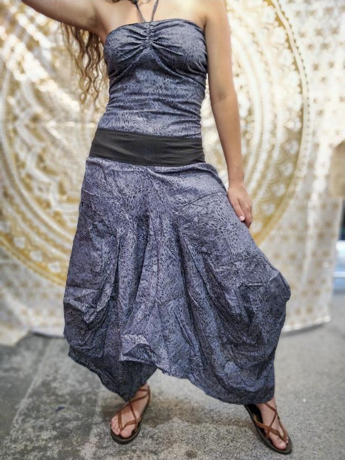 Vestito donna lungo Yogita con gonna a sacca - grigio