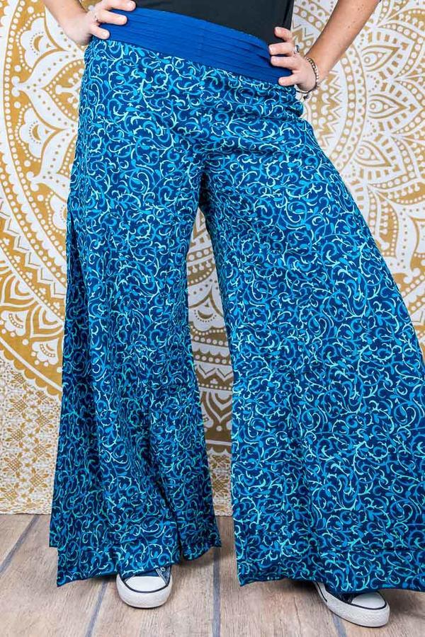 Long women's trousers Ekta wide leg - blue print