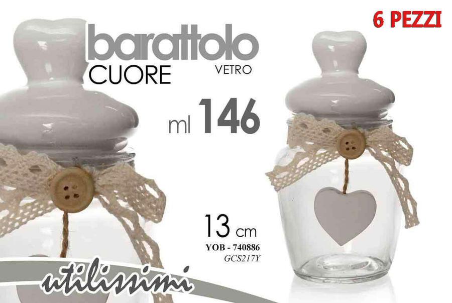 Barattolo Contenitore in Vetro Cuore Shabby Barattoli Bomboniera Regalo 13cm New