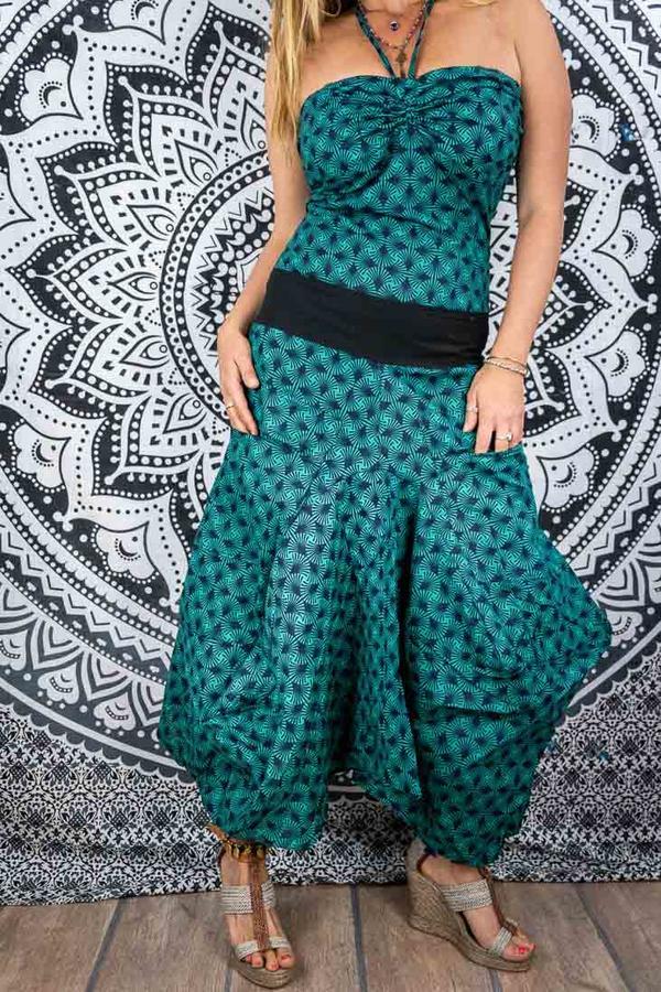 Vestido largo de mujer Yogita con falda de saco - agua verde