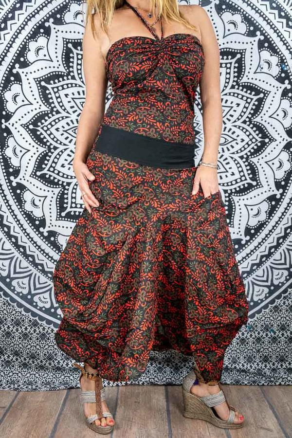 Long woman dress Yogita with bag skirt - black, red & green