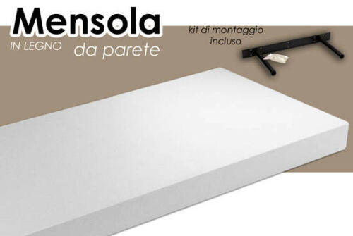 Mensola in Legno Scaffale Pensile da Parete Muro con Reggi Mensola a Scomparsa Bianco o Nera