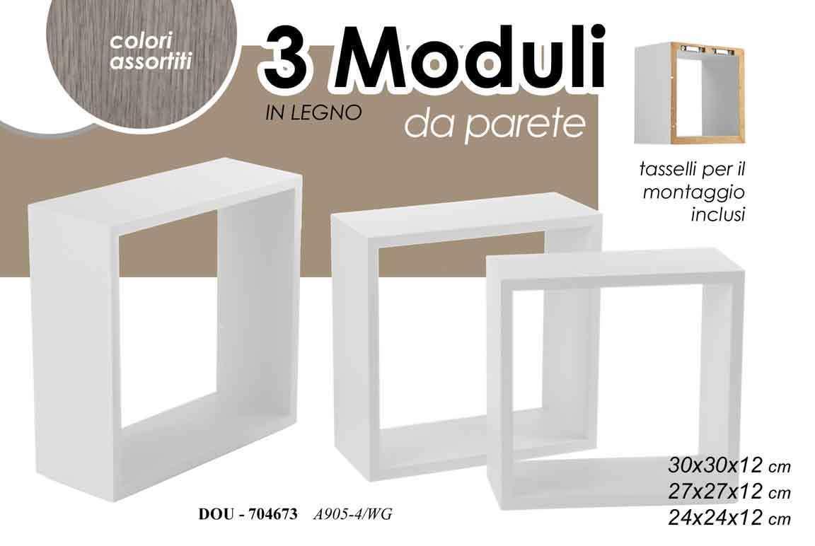 Set 3 Mensole Da Parete Scaffale In Legno Bianco O Nero