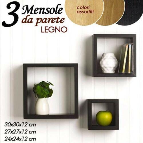 Set 3 Mensole da Parete Scaffale in Legno Bianco o Nero Mensola a muro pensile Bianco o Nero