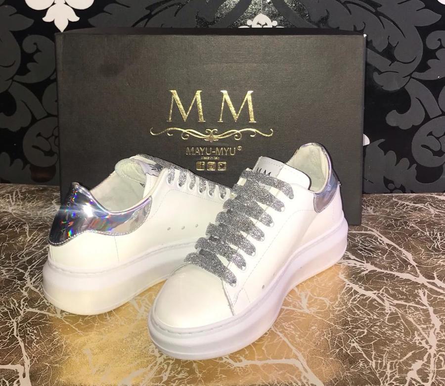 Sneakers donna Mayu Myu in pelle bianca e baffo olografico