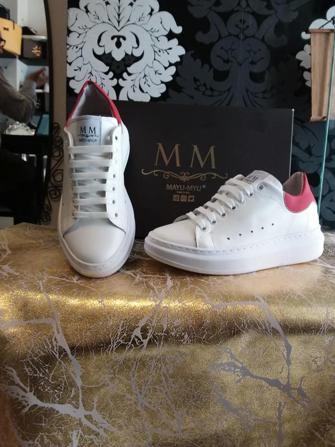 Sneakers donna Mayu Myu in pelle con riporto in pelle rossa