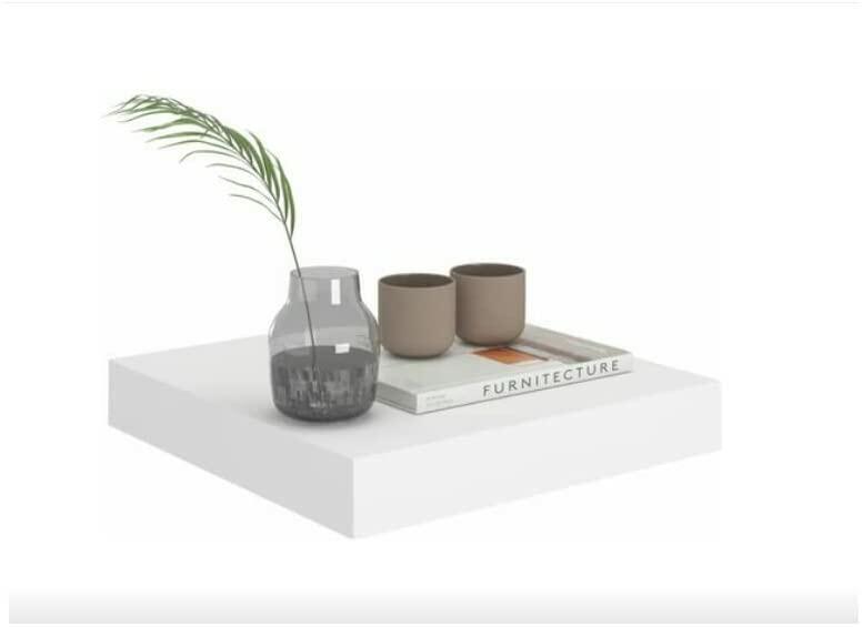 Mensola da Parete Scaffale a Muro Pensile con Reggi Mensola a scomparsa Quadrata Bianco Verde