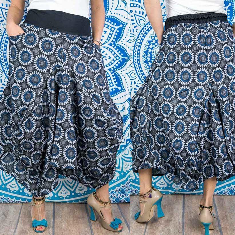 Falda de saco Dhara - florido azul y gris