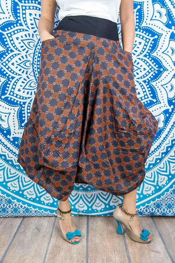 Gonna lunga Dhara a sacca - arancione viola etnico