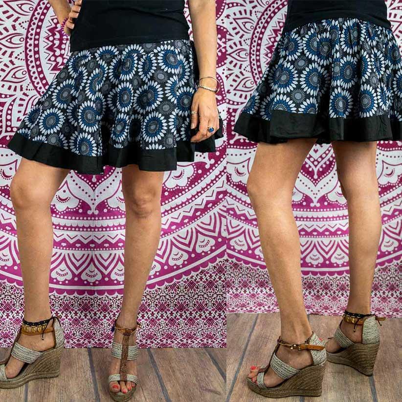 Accordion miniskirt Hita - flowered blue & gray