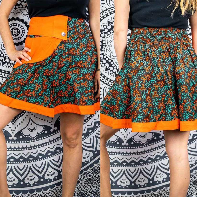 Short wheel skirt Vani - orange & green